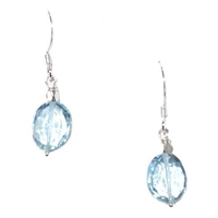 """Brilliant Topaz 2"" Sterling Silver Drop Earrings- Blue Topaz"