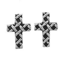 Sterling Silver Post Earring-Woven Cross