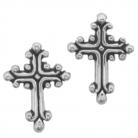 Sterling Silver Post Earring-Cross