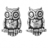 Sterling Silver Post Earring-Owl