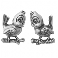 Sterling Silver Post Earring-Perching Bird