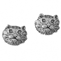 Sterling Silver Post Earring-Cat Head