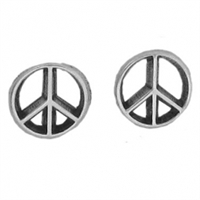 Sterling Silver Post Earring-Peace Symbol