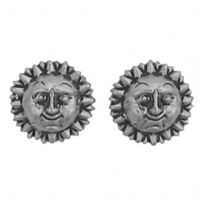 Sterling Silver Post Earring-Sun Face