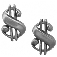 Sterling Silver Post Earring-Dollar Sign