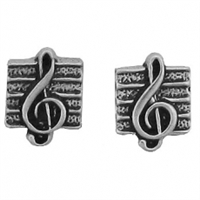 Sterling Silver Post Earring-Treble Cleff