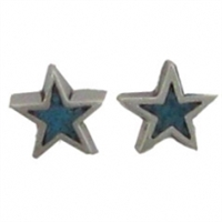 Sterling Silver Post Earring-Star with Blue Inlay