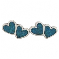 Sterling Silver Post Earring-Double Heart with Blue Inlay