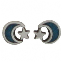 Sterling Silver Post Earring-Moon & Star with Blue Inlay