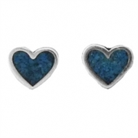 Sterling Silver Post Earring-Heart with Blue Inlay