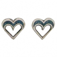 Sterling Silver Post Earring-Open Heart with Blue Inlay
