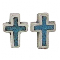Sterling Silver Post Earring-Cross with Blue Inlay