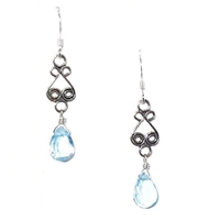 """Sky Swirl 2"" Sterling Silver Drop Earrings- Blue Topaz"
