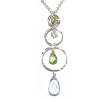 """Triple Circle"" Sterling Silver Necklace- Blue Topaz & Peridot"
