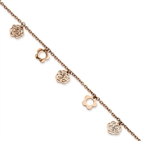 Stainless Steel Pink IP-plated Flowers Anklet