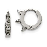 "Stainless Steel Spiked""Huggie"" Earrings"
