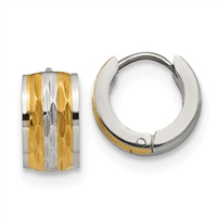 Bi-Color Stainless Steel Hinged Hoop Earrings