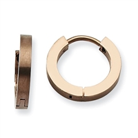 Brown IP Plated Stainless Steel Polished Hinged Hoop Earrings