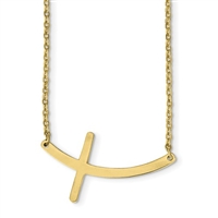 Gold IP Plated Stainless Steel Necklace- Sideways Cross