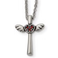 Stainless Steel Necklace- Winged Cross with Red Crystals