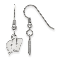"University of Wisconsin- ""Motion W"" Dangle Earrings-Extra Small"
