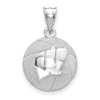 University of Wisconsin-  Sterling Silver Basketball Pendant