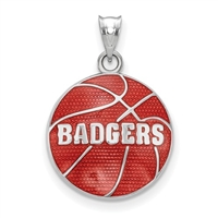 University of Wisconsin-  Red Enamel Basketball - Sterling Silver