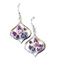Sterling Silver Multi Stone Drop Earring