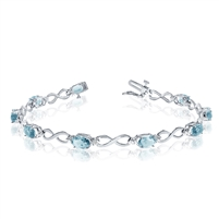 14K White Gold Aquamarine & Diamond Bracelet
