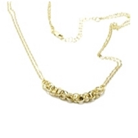 14K 2 Strand Double Ring Necklace