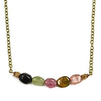 Watermelon Tourmaline Necklace-  Mellow Rainbow