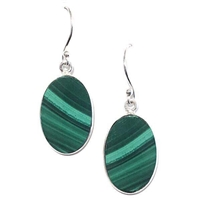 Sterling Silver Dangle Earrings- Malachite