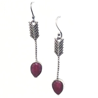 Sterling Silver Ruby Dangle Earrings--Arrow