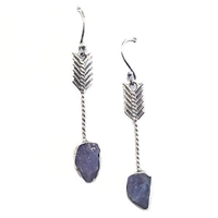 Sterling Silver Dangle Earrings- Rough Cut Tanzanite