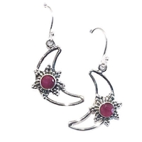 Sterling Silver Ruby Dangle Earrings--Crescent Moon & Star