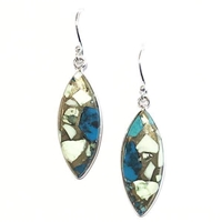 Sterling Silver Dangle Earrings- Chrysocolla in Mint Chrysoprase