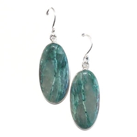 Sterling Silver Drop Earrings- Lightning Azurite