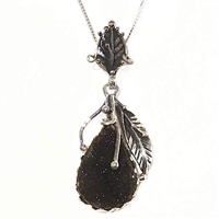 Sterling Silver Pendant/Necklace- Black Onyx Druzy