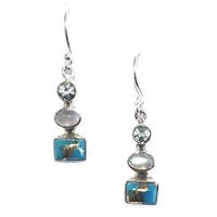 Sterling Silver Dangle Earrings- Turquoise
