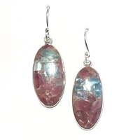 Sterling Silver Dangle Earrings- Multi Color Tourmaline