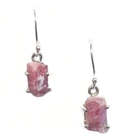 Sterling Silver Dangle Earrings- Rough Cut Pink Tourmaline