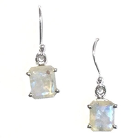 Sterling Silver Dangle Earrings- Faceted Rainbow Moonstone
