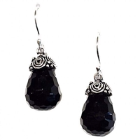 Sterling Silver Dangle Earrings- Faceted Black Onyx
