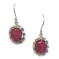 Sterling Silver Dangle Earrings- Ruby