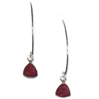 Sterling Silver Ruby Dangle Earrings--July Birthstone