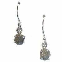 Sterling Silver Dangle Earrings- Rough Cut Diamond