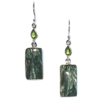 Sterling Silver Dangle Earrings-Seraphinite & Peridot