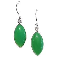 Sterling Silver Dangle Earrings- Chrysoprase