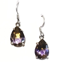 Sterling Silver Drop Earrings - Ametrine