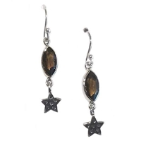 Sterling Silver Dangle Earrings- Smoky Quartz